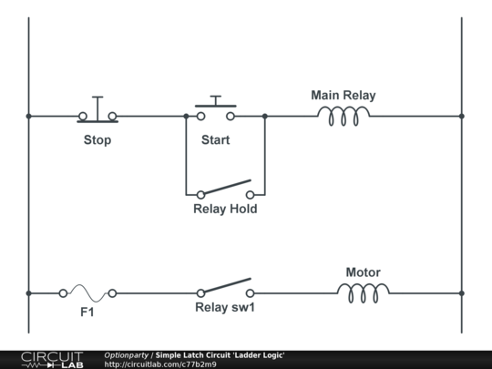 simple latch circuit ladder logic circuitlab rh circuitlab com Relay Logic For Dummies Control Logic Diagram