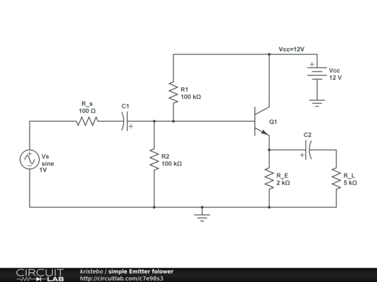 amplifier - Emitter follower: Icq and Vceq calculation - Electrical