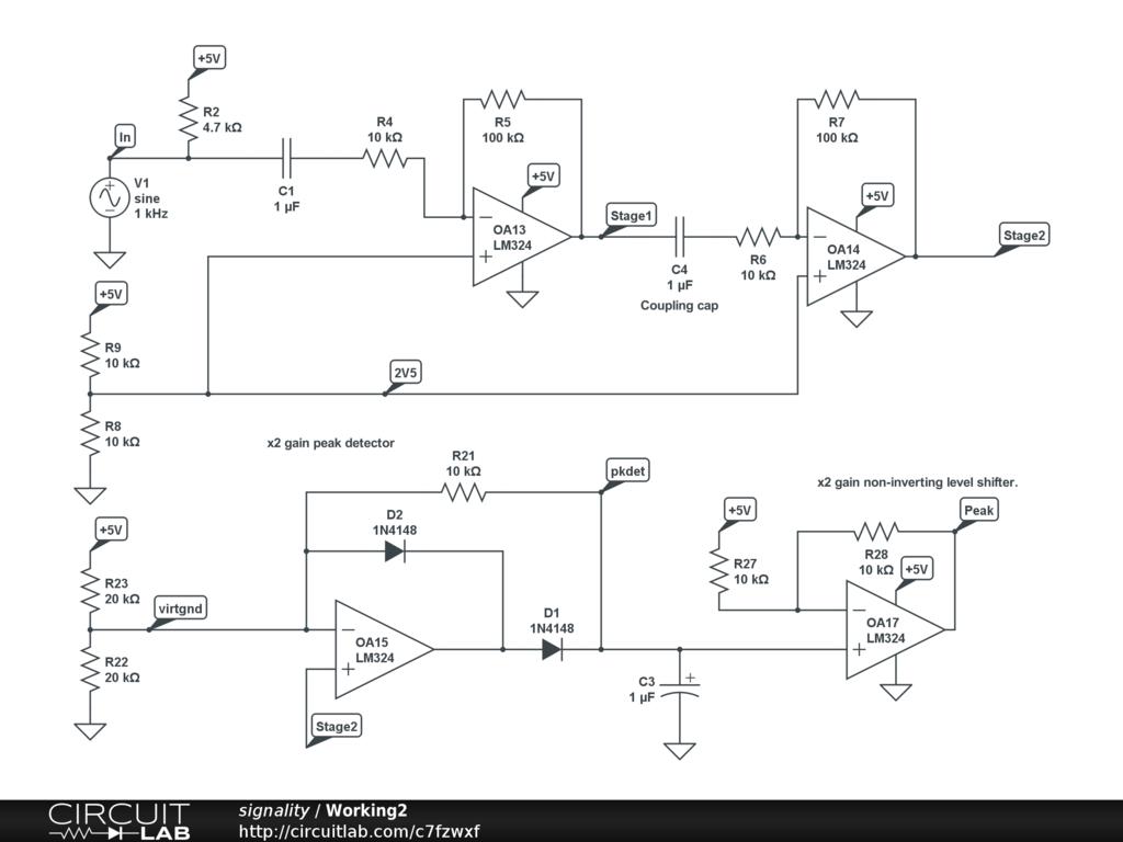 Op Amp Peak Detector Audio Electronics Circuitlab Schematics Non Inverting Circuit Led Diode Sensor Diagram Adds