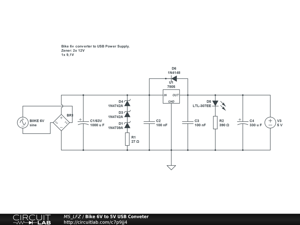 Bike 6v To 5v Usb Conveter Circuitlab Buzzer In A Circuit