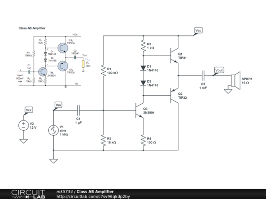 Cl AB Amplifier - CircuitLab Ab Amplifier Schematic on