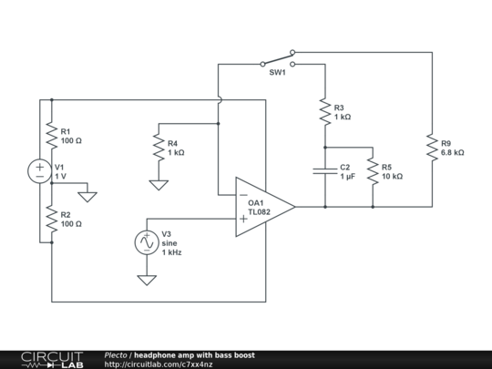 headphone amp with bass boost - CircuitLab