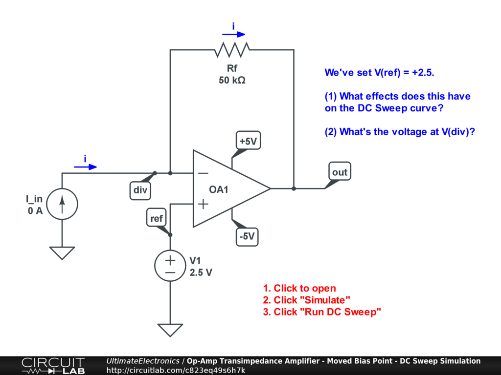 Op-Amp Transimpedance Amplifier - Moved Bias Point - DC Sweep Simulation