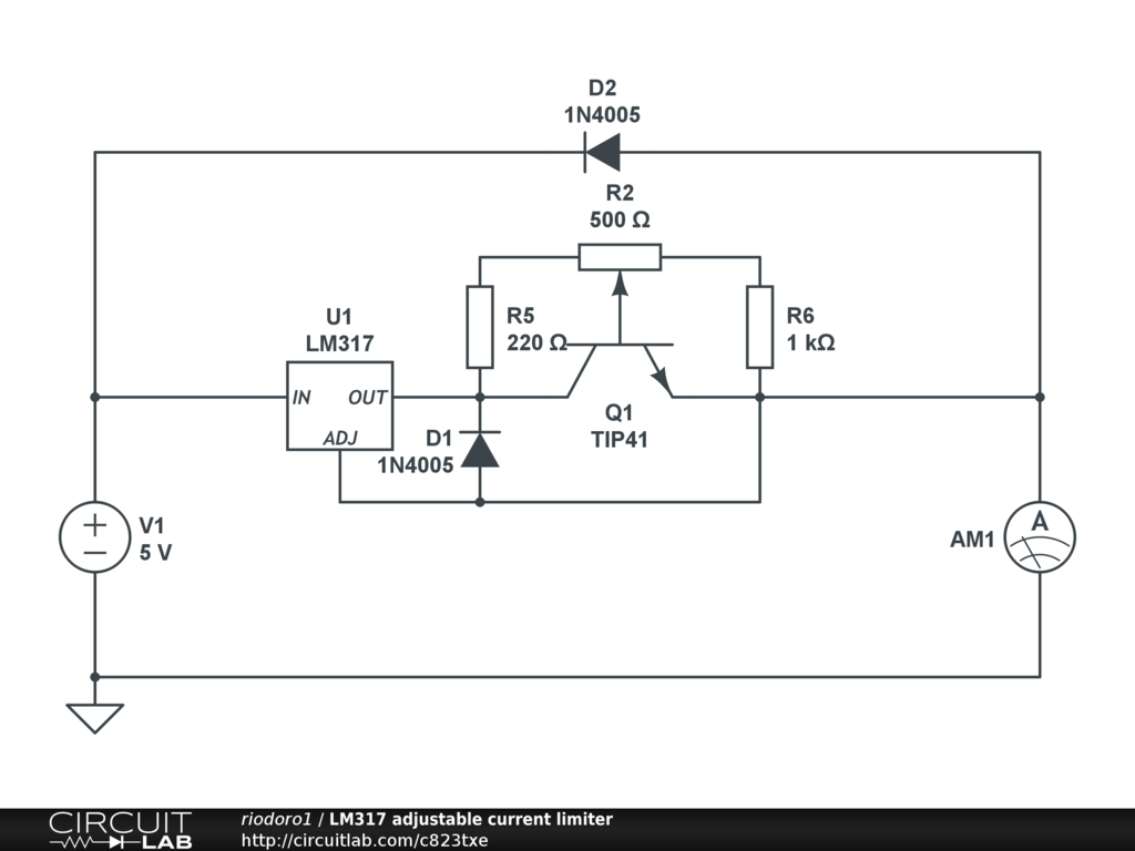 LM317 adjustable current limiter - CircuitLab on audio clips, inverter schematics, relay schematics, audio mixer circuit, generator schematics, led schematics, audio circuit books, audio splitter circuit, audio amp schematic, audio circuit symbols, lm3914 schematics, radio schematics, audio circuit design,
