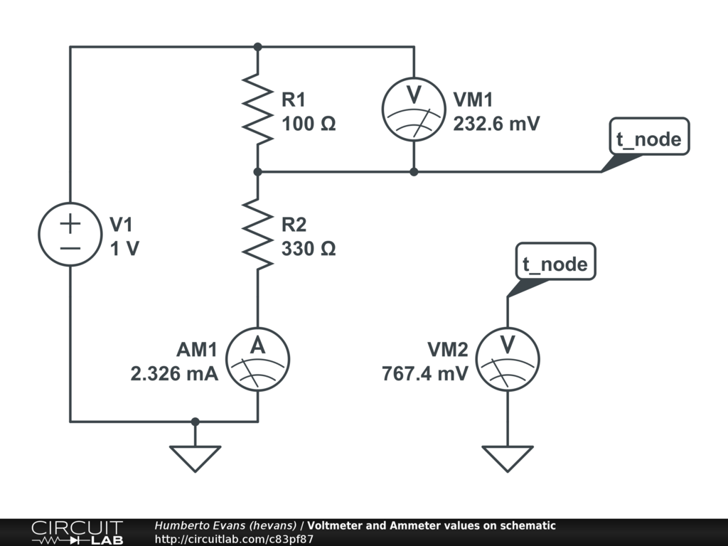 Voltmeter and ammeter values on schematic circuitlab circuit pooptronica Choice Image