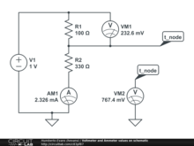 Voltmeter and Ammeter values on schematic