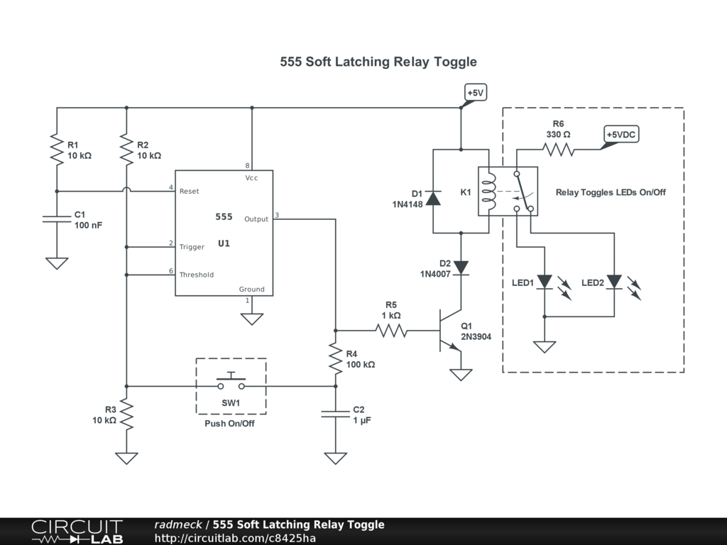 555 Soft Latching Relay Toggle CircuitLab