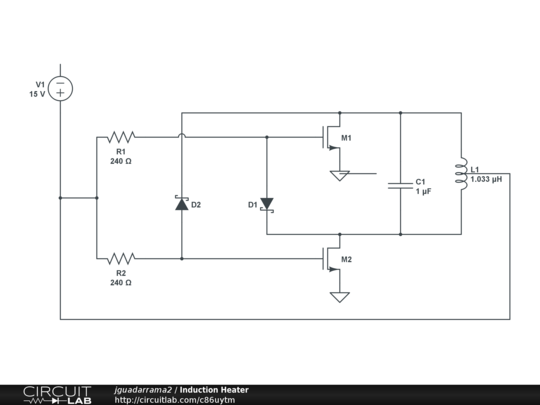 Induction Heater - CircuitLab on ccfl inverter schematic, pulse induction metal detector schematic, induction generator schematic, homemade plasma cutter schematic, induction diagram, h bridge schematic, induction heating, induction motor schematic, shunt schematic, electronic speed control schematic, simple heating circuit schematic, phase converter schematic, igbt schematic, zvs driver schematic, electric motor schematic,