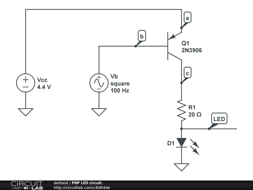 Pnp Led Circuit Circuitlab Ledcircuit