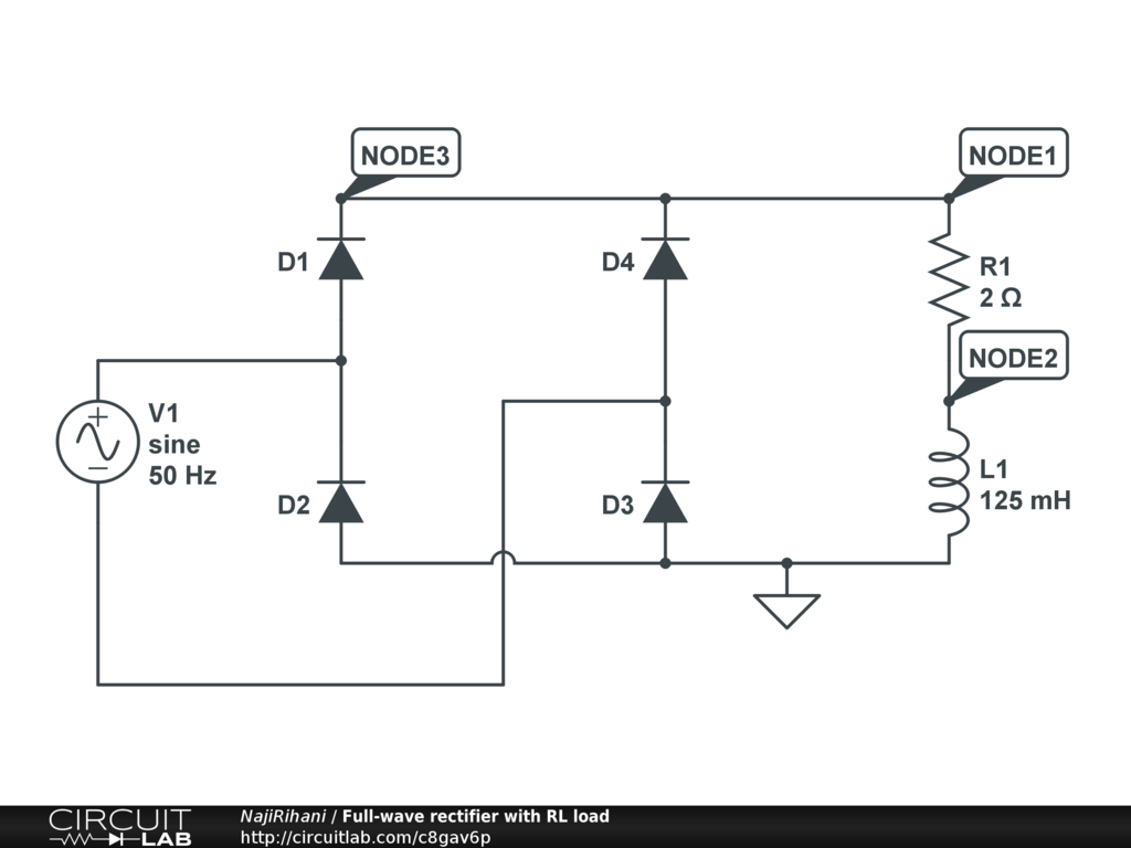 Full Wave Uncontrolled Rectifier With Rl Load Circuitlab Diagram Circuit
