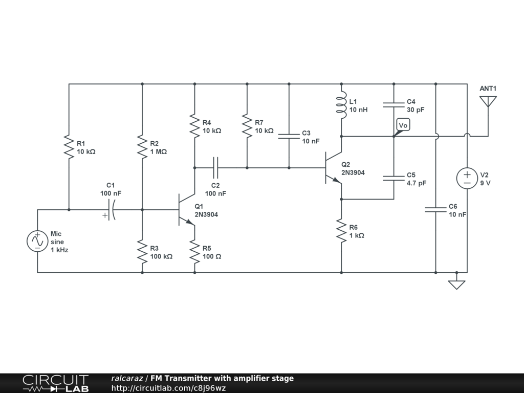 Fm Transmitter With Amplifier Stage Circuitlab Circuit Diagram