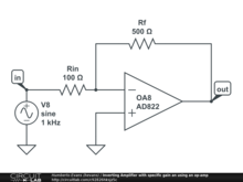 Inverting Amplifier: How to build and simulate op-amp circuit with a specific gain