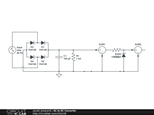 AC to DC Converter - CircuitLab Ac To Dc Convertor Wiring Diagram on