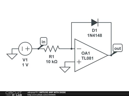 antilog amp with diode