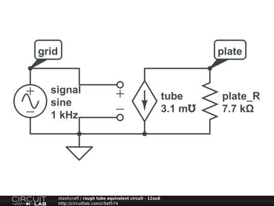 rough tube equivalent circuit - 12au6