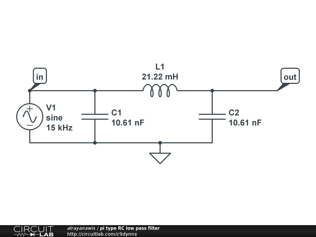 Pi-type LC Low-pass filter - CircuitLab