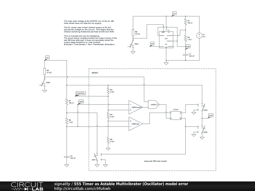 Public Circuits Tagged 555 Circuitlab Oscillator 50 Duty Cycle Circuit Schematic Diagram Timer As Astable Multivibrator Model Error