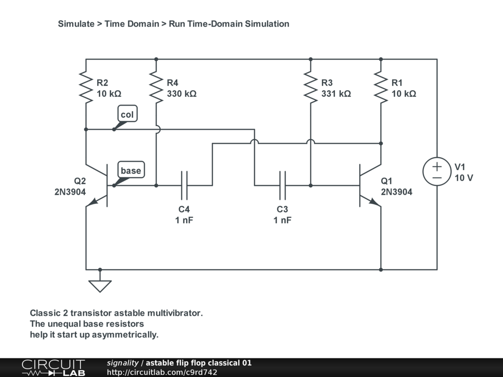Astable Multivibrator Doesnt Oszillate Circuitlab Support Forum Monostable Circuit