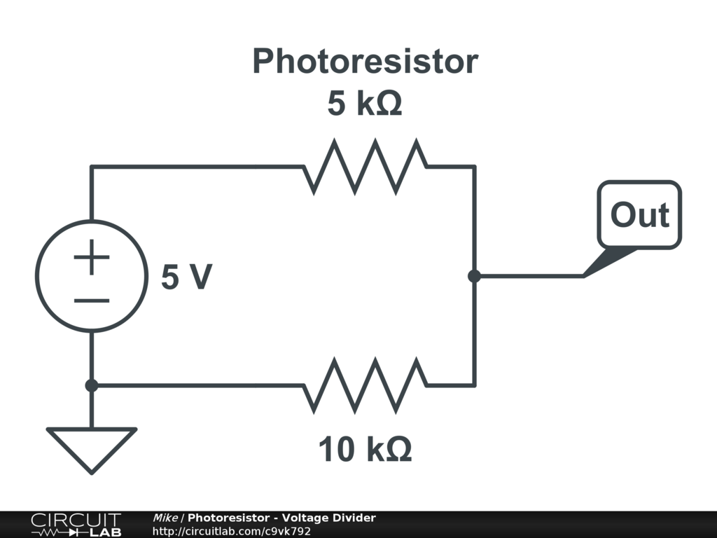 Public Circuits Tagged Voltage Divider Circuitlab Dividers Photoresistor
