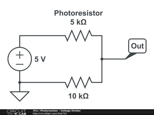 Photoresistor - Voltage Divider - CircuitLab