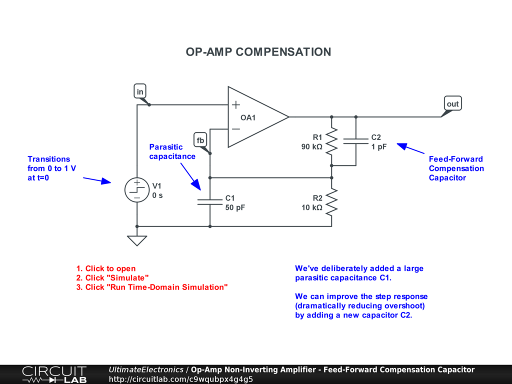 Op-Amp Non-Inverting Amplifier - Feed-Forward Compensation Capacitor