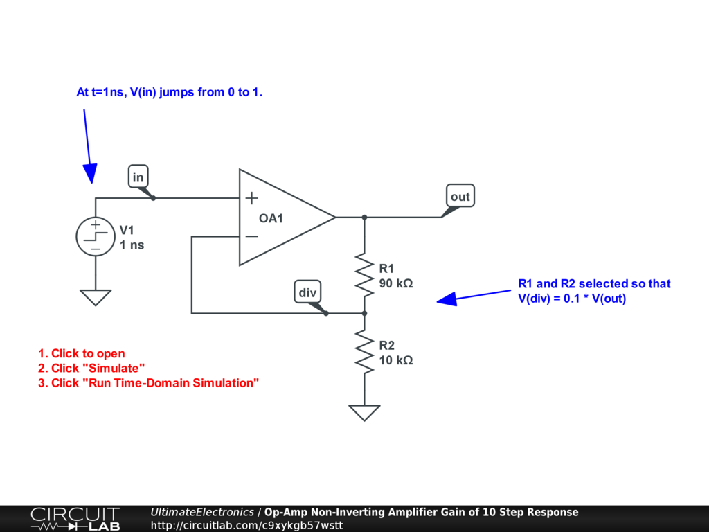 Op-Amp Non-Inverting Amplifier Gain of 10 Step Response