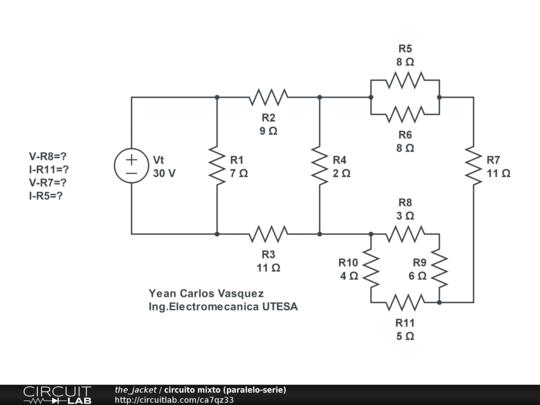 Circuito Mixto : Circuito mixto paralelo serie circuitlab
