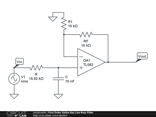 first order sallen-key low-pass filter
