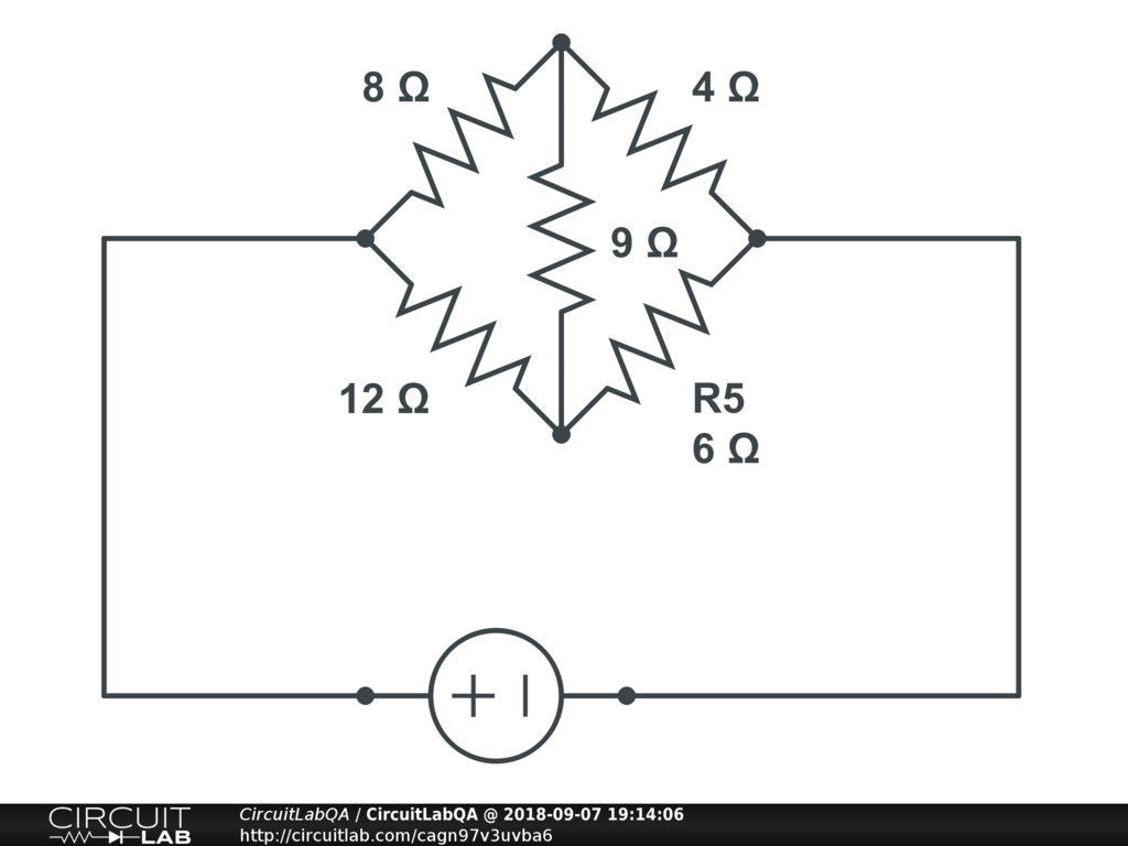 In The Circuit Resistor 9 Ohms Is Cancelled Electronics Qa Diagram Bridge Balanced So Ohm Has No Voltage Across It And Sees Current