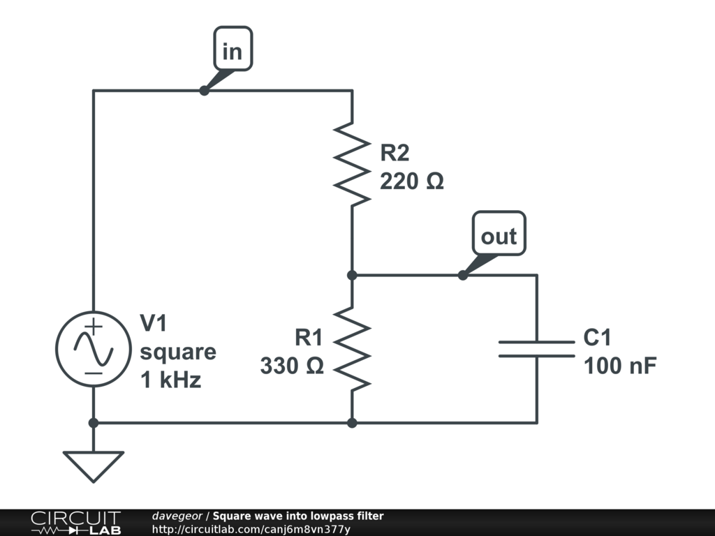 Square Wave Into Lowpass Filter Circuitlab Low Pass Rc Diagram Circuit