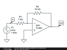 Op-amp inverting amplifier by CircuitLab.com