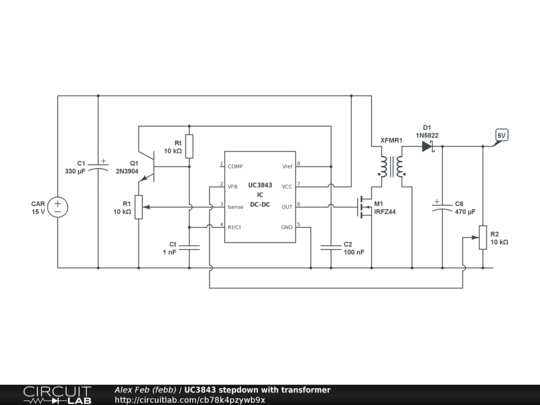UC3843 stepdown with transformer - CircuitLab