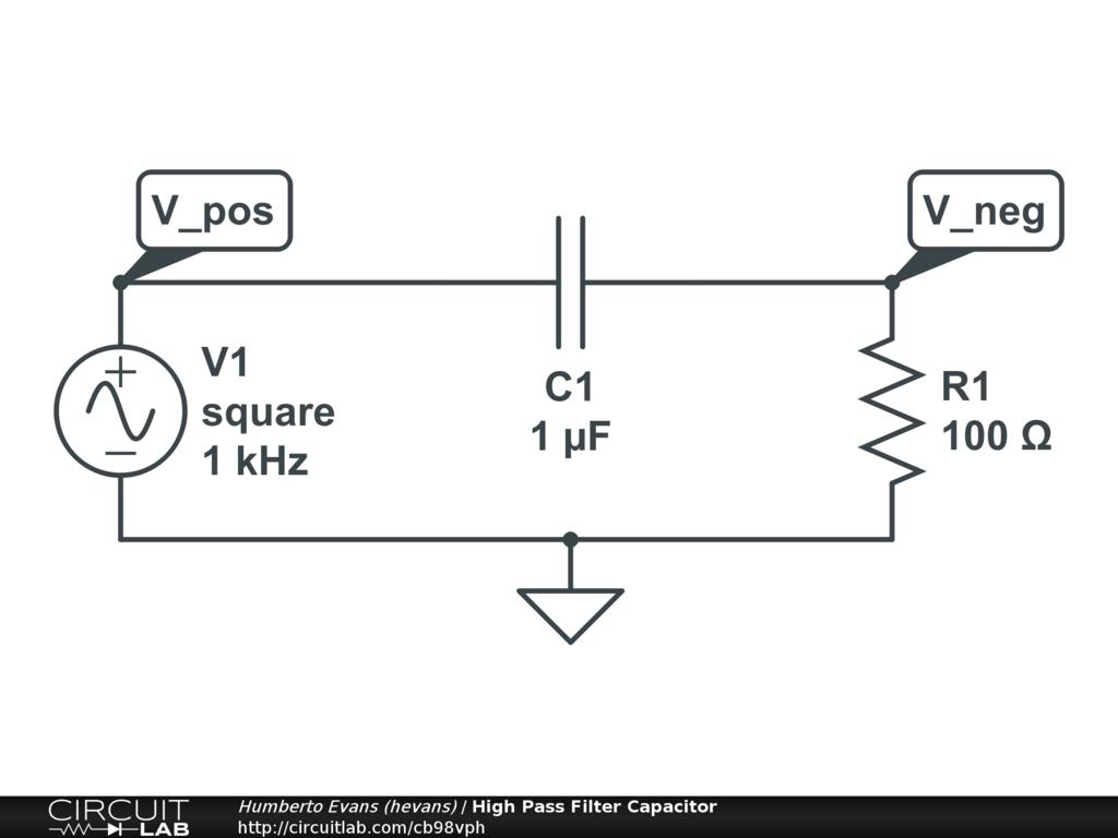 High pass filter calculator - Circuit