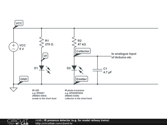 ir presence detector (e g for model railway trains) circuitlabdescription provides a presence detector for model railway