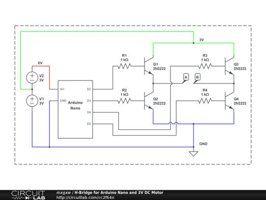 H-Bridge for Arduino Nano and 3V DC Motor - CircuitLab on