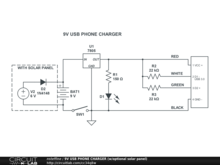 9V USB PHONE CHARGER (w/optional solar panel)