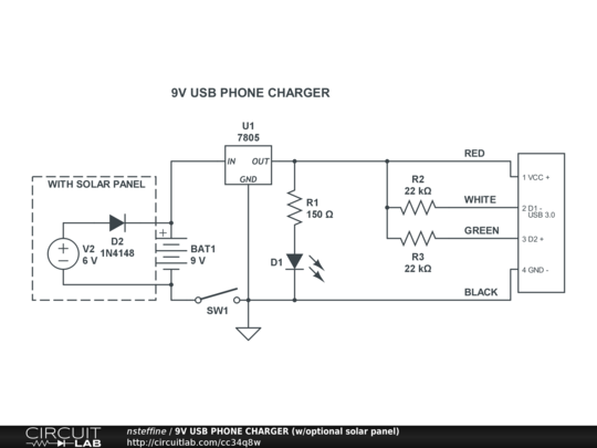 9V USB PHONE CHARGER (w/optional solar panel) - CircuitLab Usb Charger Schematic on usb adapter schematic, 12v to usb schematic, usb charger components, speaker schematic, surface power cord schematic, usb charger connection, usb wire schematic, usb charger drawing, usb splitter schematic, usb charger circuit, usb charger repair, usb charger note, usb cord schematic, usb battery charger project, usb charging circuit, usb headset schematic, usb charger symbol, battery schematic, usb connection schematic, usb power schematic,