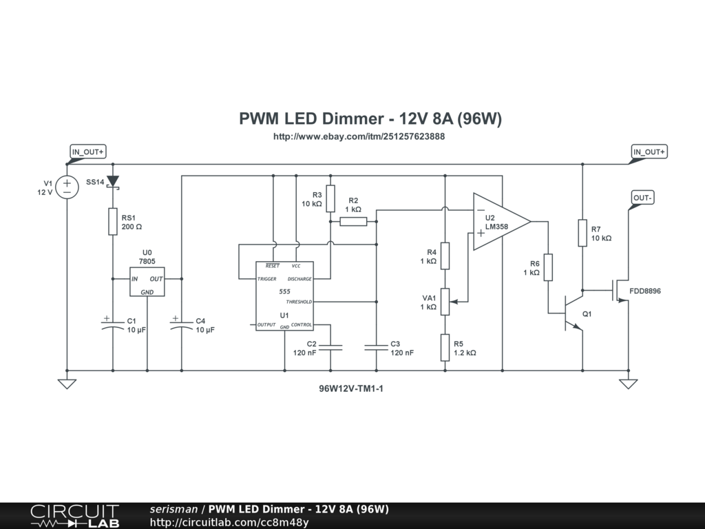Pwm Led Dimmer 12v 8a 96w Circuitlab Using 555 Timer Circuit Diagrams Image