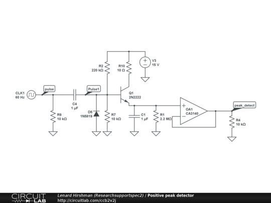positive peak detector circuitlab rh circuitlab com Peak Detector Circuit CMOS Pulse Peak Detector Circuit