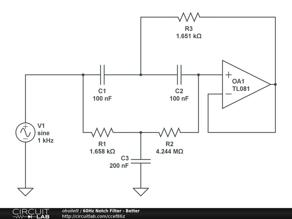 60Hz Notch Filter - Better - CircuitLab on
