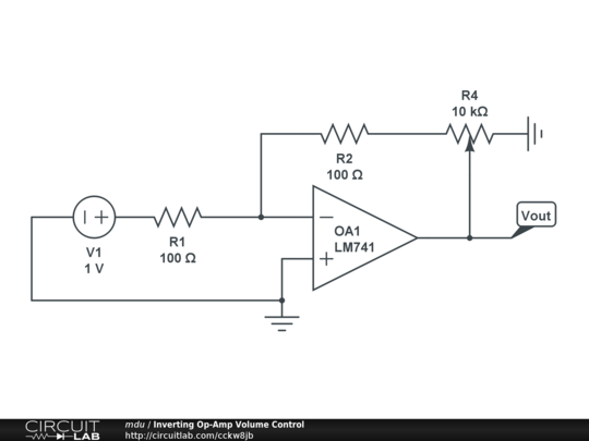 inverting op-amp volume control