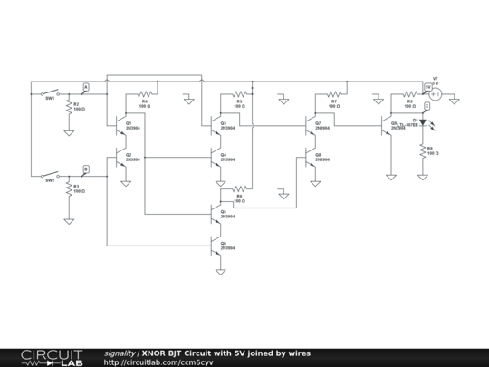 XNOR BJT Circuit with 5V joined by wires - CircuitLab Xnor Wiring Diagram on led circuit diagrams, internet of things diagrams, battery diagrams, electrical diagrams, engine diagrams, motor diagrams, lighting diagrams, smart car diagrams, hvac diagrams, friendship bracelet diagrams, transformer diagrams, series and parallel circuits diagrams, sincgars radio configurations diagrams, switch diagrams, pinout diagrams, honda motorcycle repair diagrams, gmc fuse box diagrams, troubleshooting diagrams, electronic circuit diagrams,
