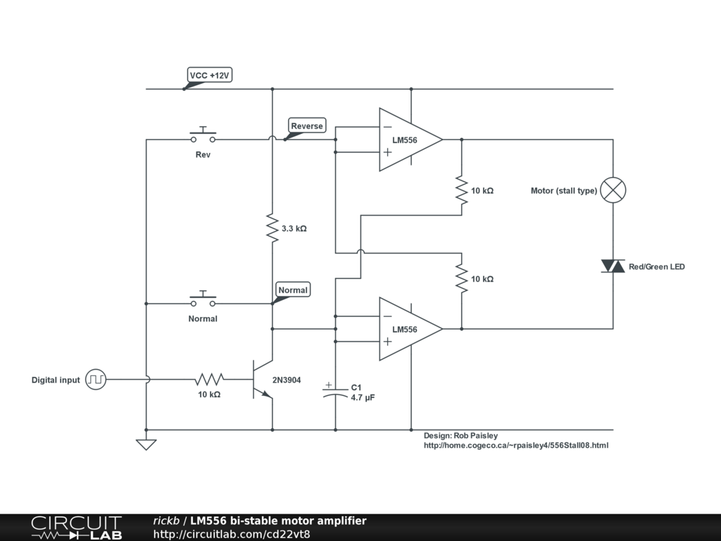 Public Circuits Tagged Model Railway Circuitlab Motor Driver Using Mosfets Lm556 Bi Stable Point Amplifier