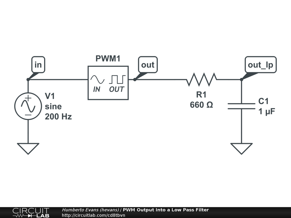 Pwm Output Into A Low Pass Filter Circuitlab Diode Rectifier Wiring Diagram For Circuit