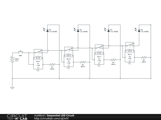 Sequential Led Circuit Diagram | Sequential Led Circuit Circuitlab