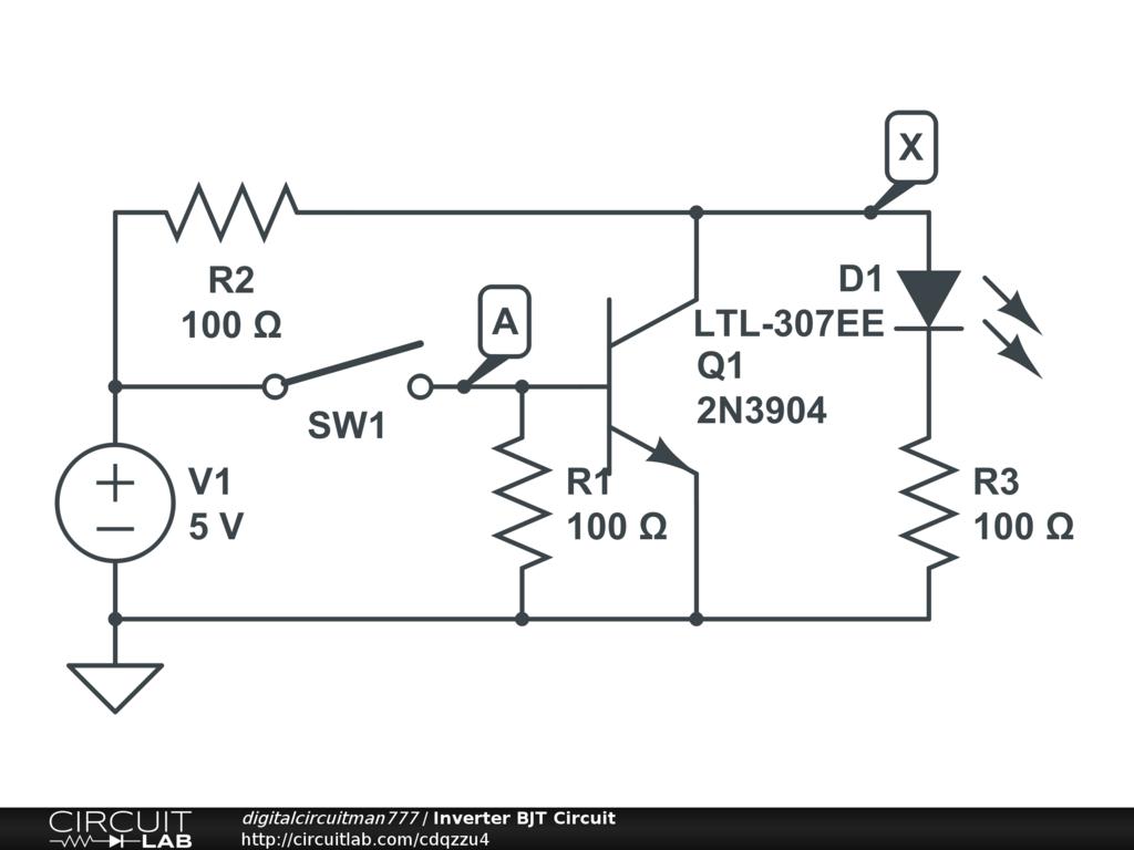 Public Circuits Tagged Digital Circuitlab Debouncing Circuit Inverter Bjt