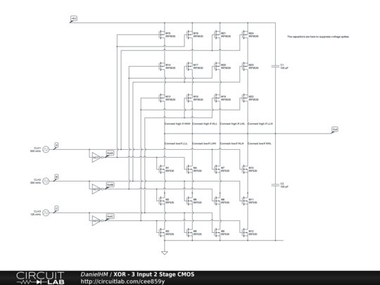 XOR - 3 Input 2 Stage CMOS - CircuitLab Xor Cmos Schematic on