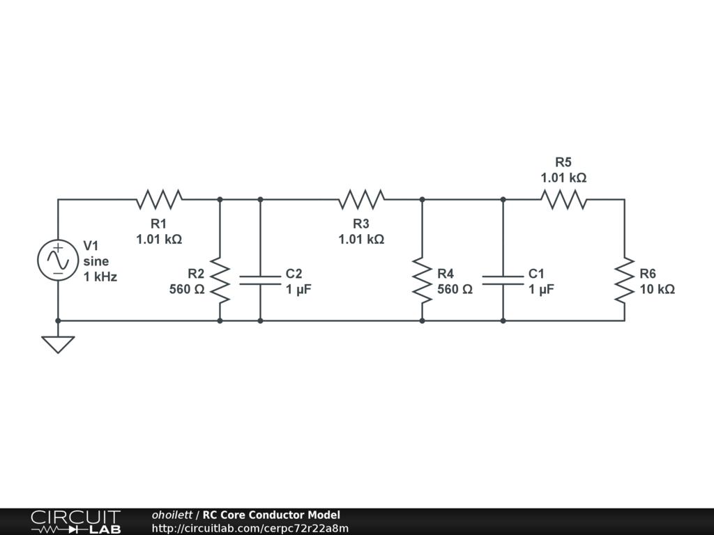 Rc Core Conductor Model Circuitlab Public Circuits Tagged Quotconstantcurrentquot Circuit