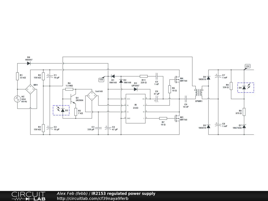 IR2153 regulated power supply - CircuitLab