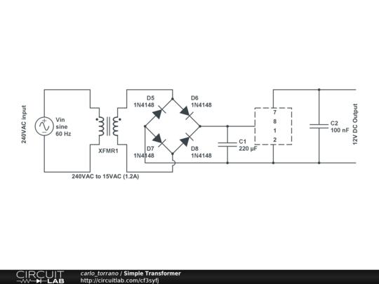 transformer rectifier 240vac to 15vac 1 2a 12vdc circuitlab circuit
